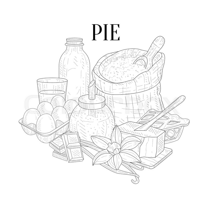 800x799 Pie Baking Components Still Life Hand Drawn Realistic Sketch