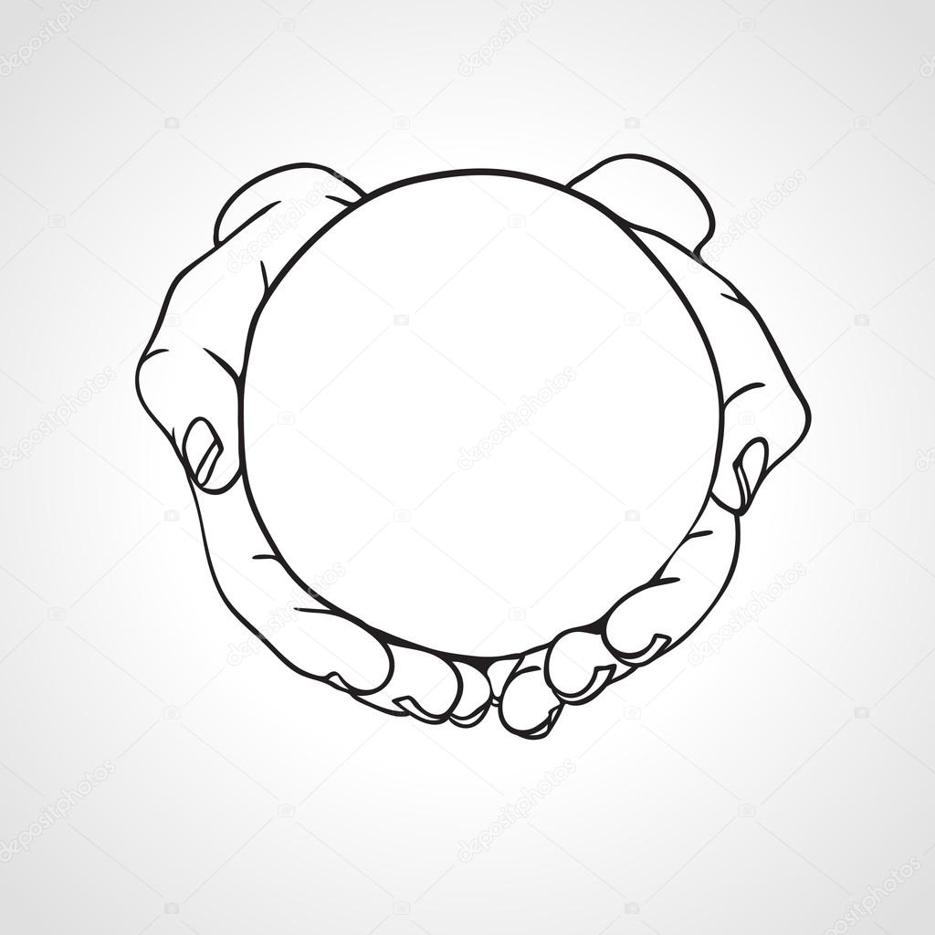 1024x1024 Closeup Of Cupped Hands Holding A Round Object. Hand Drawn Vector
