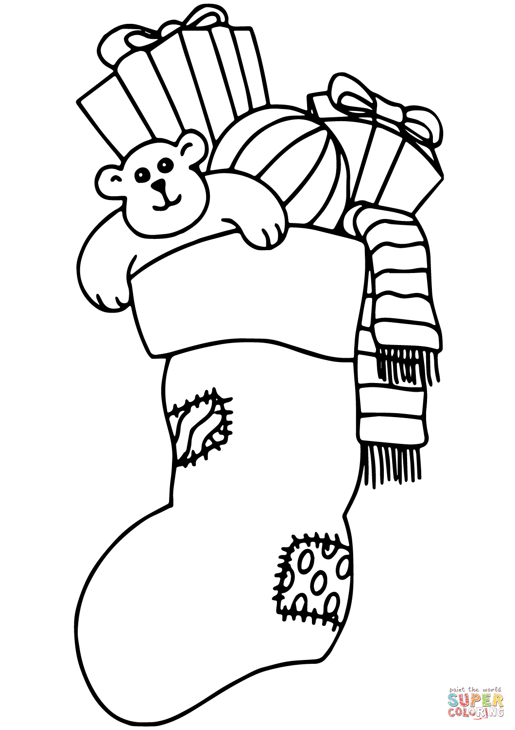 1060x1500 Christmas Stocking Filled With Gifts Coloring Page Free