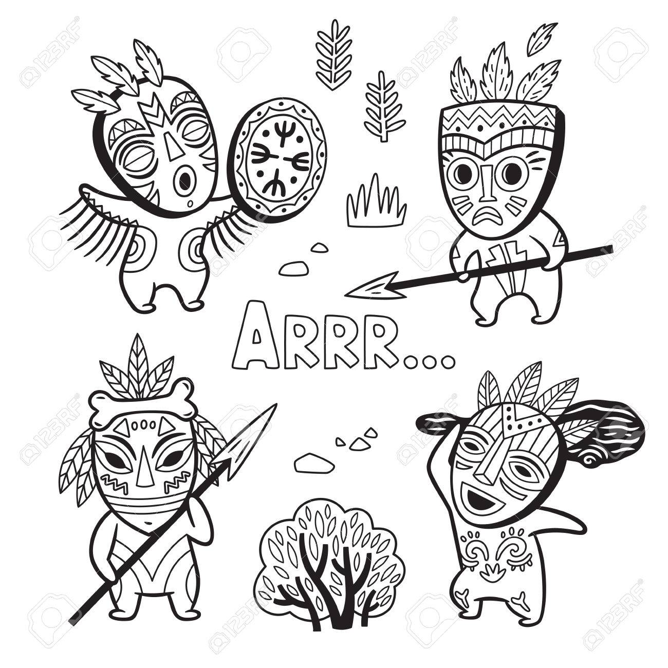 1300x1300 Set Of Stone Age Tribe People In Masks. Coloring Page Royalty Free
