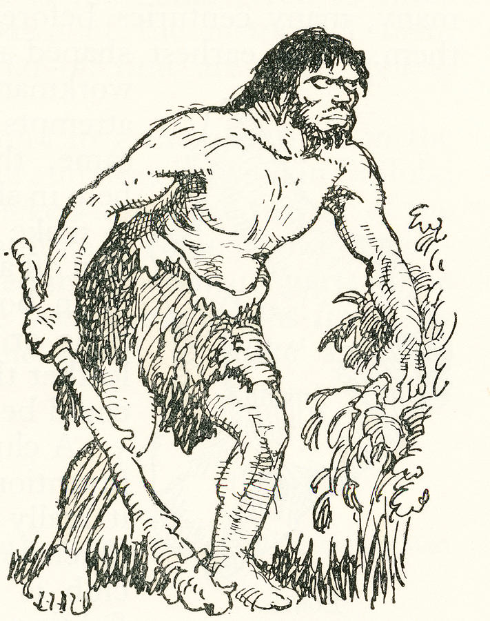 711x900 Stone Age Man With Club. After A Work Drawing By Vintage Design Pics