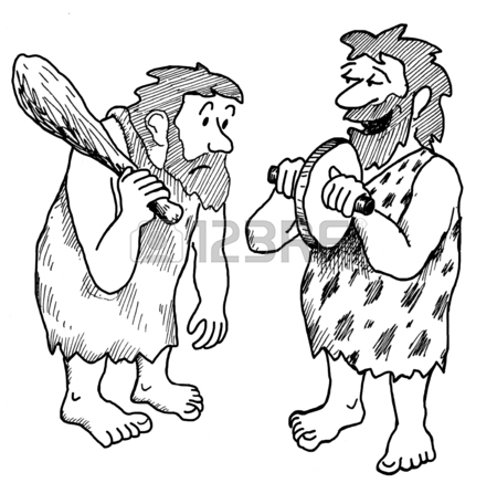 450x437 Illustration Showing Two Stone Age Men Looking At The Wheel