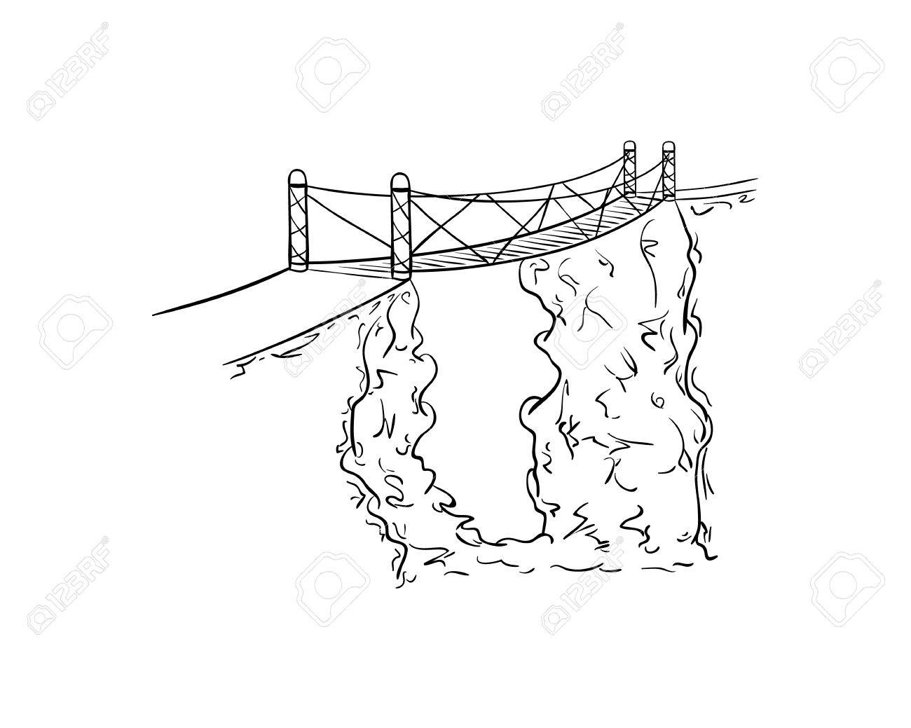 1300x1039 Rope Bridge Over The Abyss Between Two Rocks. Sketch Illustration