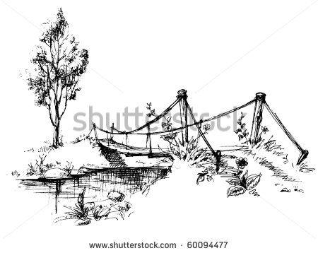 450x358 Stone Bridge Over River Sketch 2