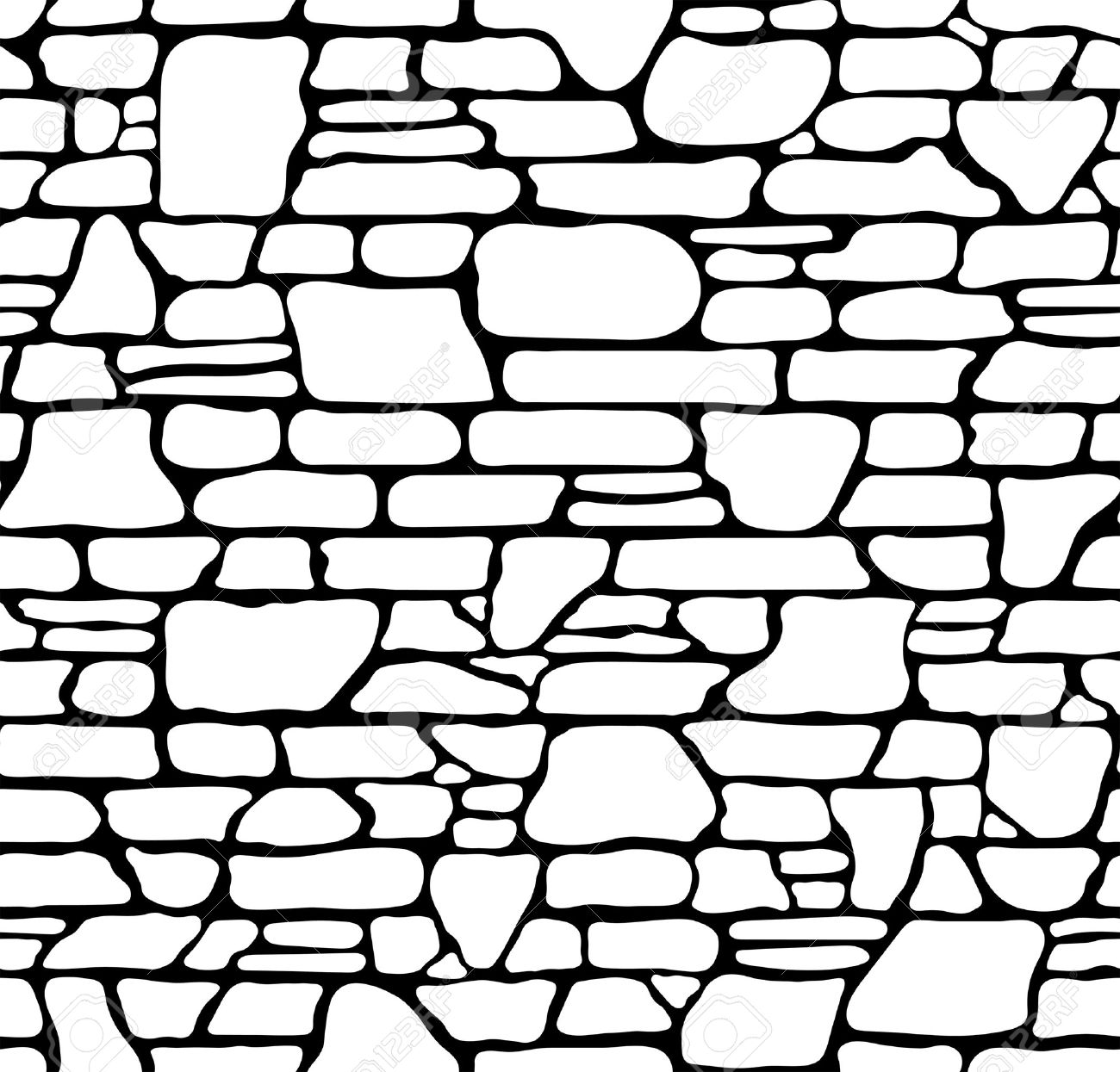 1300x1245 Seamless Grunge Stone Brick Wall Texture. Vector Illustration