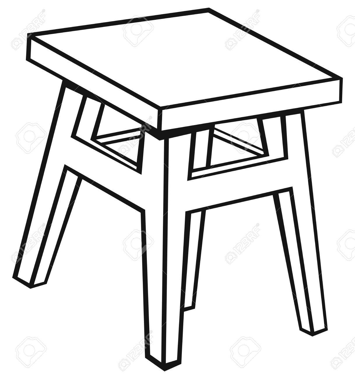1218x1300 Silhouette Old Wooden Stool Isolated On White Background Royalty
