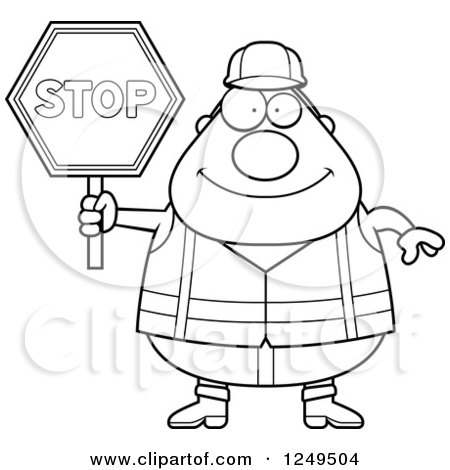 450x470 Clipart Of A Black And White Happy Chubby Road Construction Worker