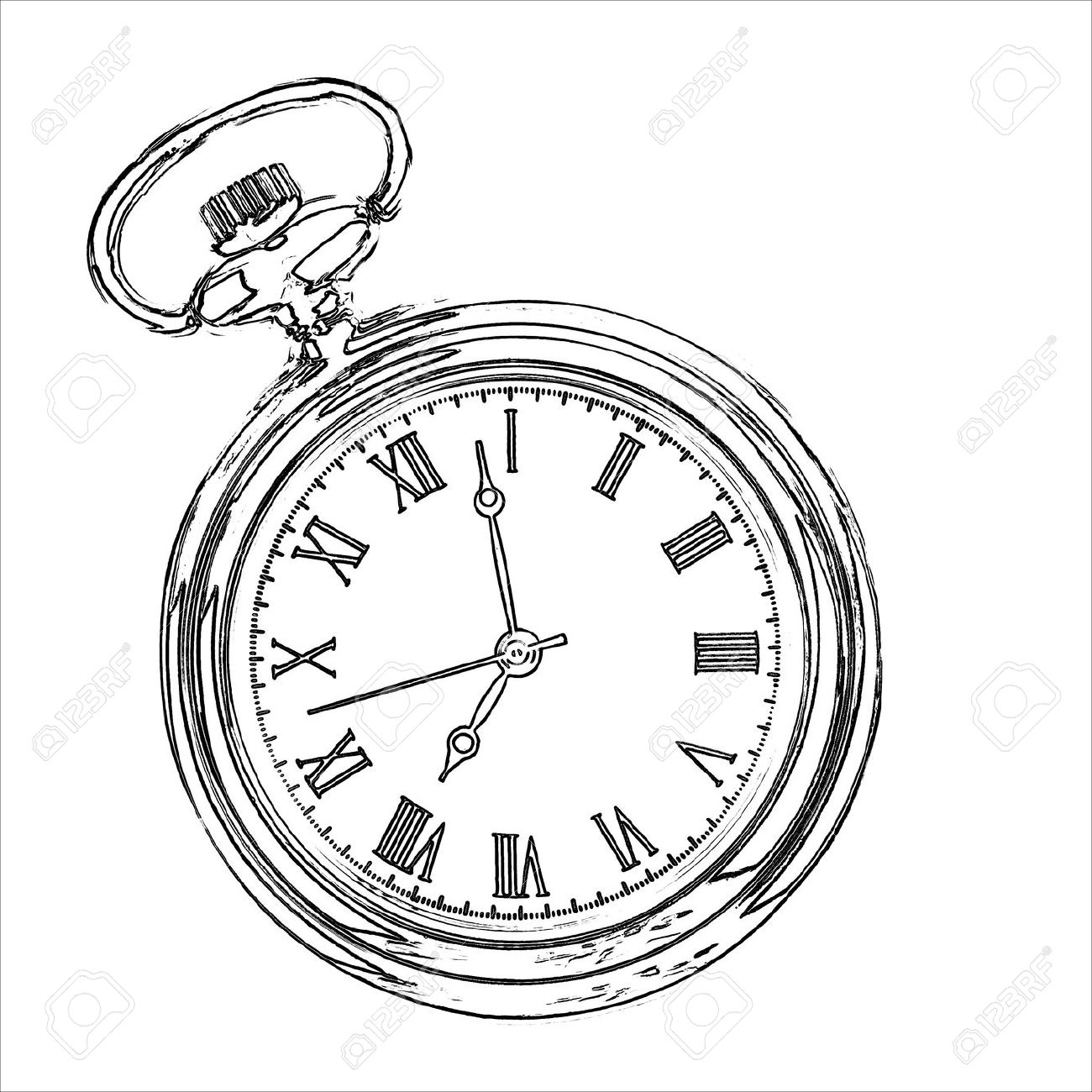 1300x1300 Pocket Watch Line Drawing Antique Stopwatch Stock Photos Pictures