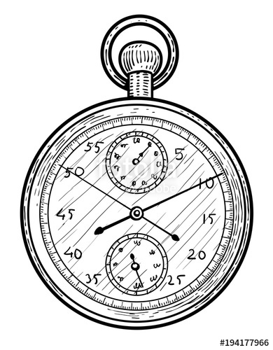 390x500 Stopwatch Illustration, Drawing, Engraving, Ink, Line Art, Vector