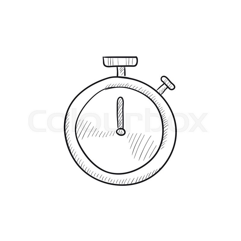 800x800 Stopwatch Vector Sketch Icon Isolated On Background. Hand Drawn