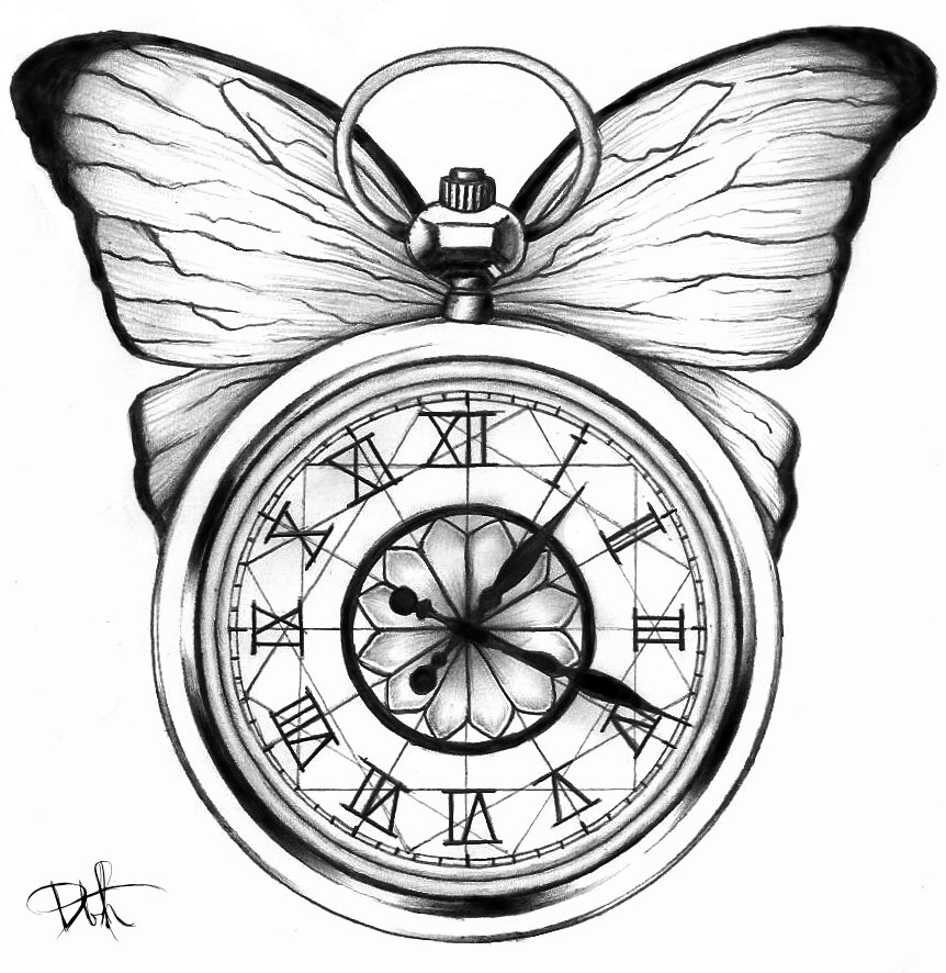 862x886 Butterfly Stop Watch Tattoos Butterfly And Tattoo