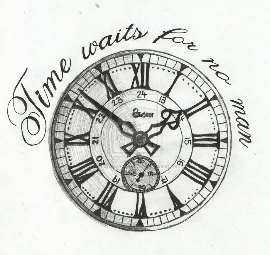 920x869 Time Waits For No One Clock Tattoo Sketch Photo