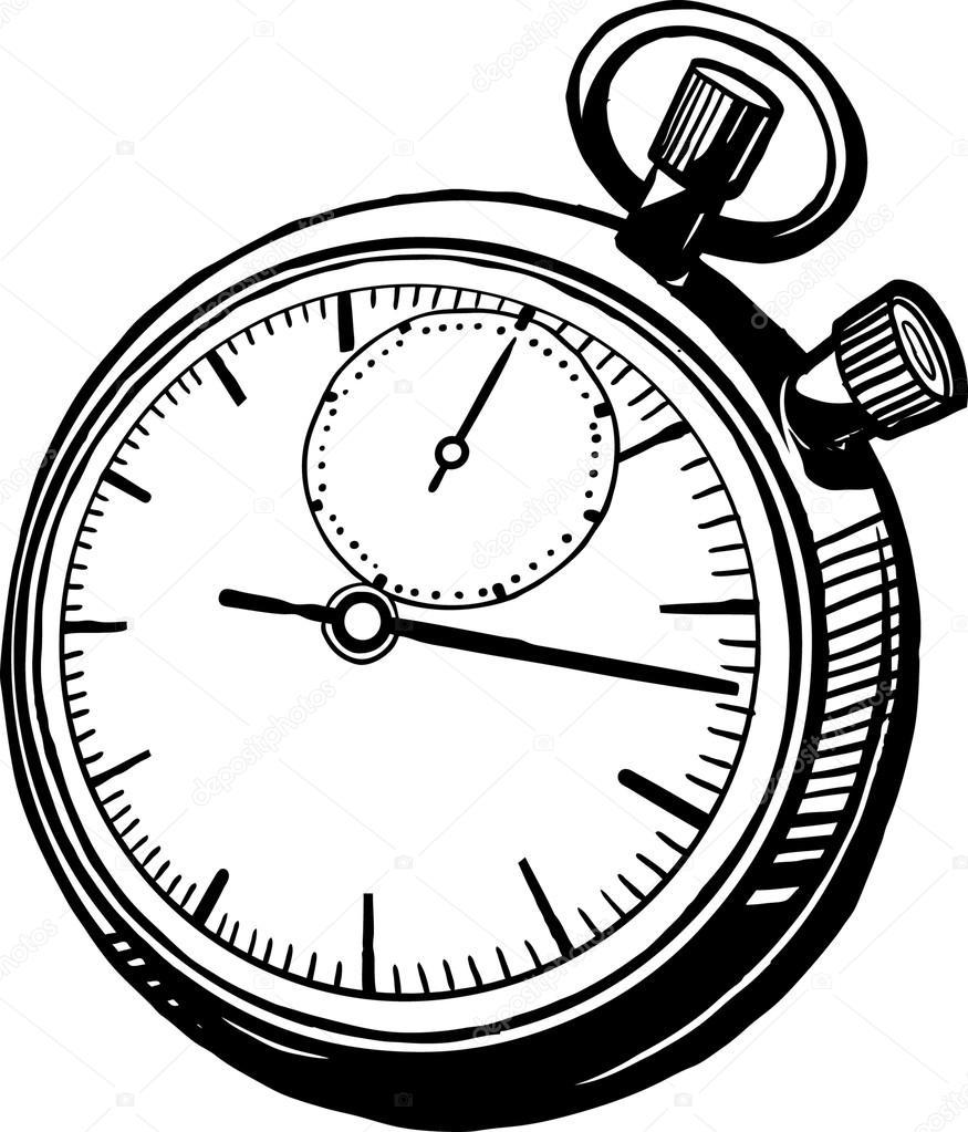 875x1023 Vintage Stop Watch Perspective Stock Vector Businessdoodles