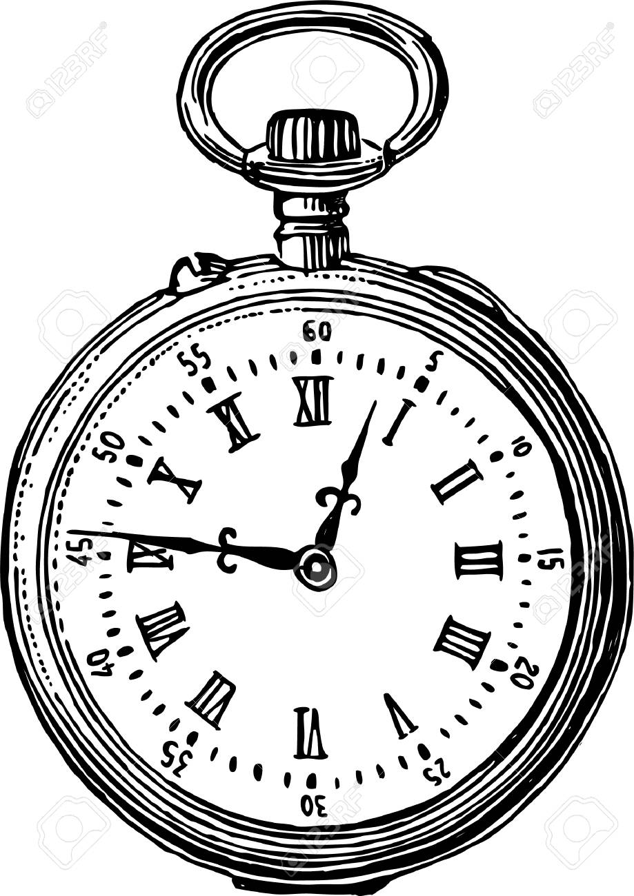 919x1300 Drawing Of A Vintage Pocket Watch Royalty Free Cliparts, Vectors