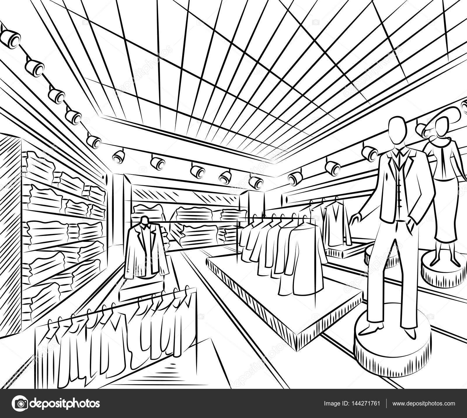 1600x1433 Fashion Store Interior Design In Sketch Style. Vintage Hand Drawn