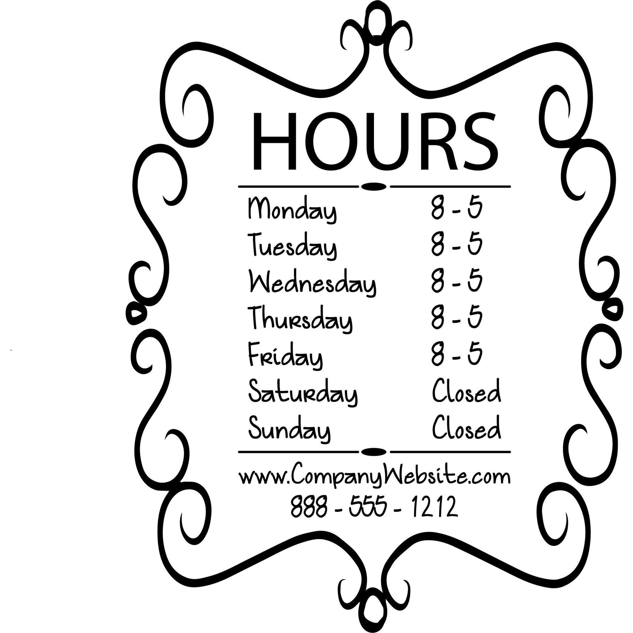 2048x2048 Store Hours Name Custom Window Decal