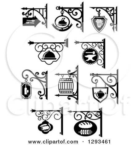 450x470 Vintage Black And White Hanging Storefront Signs For A Bakery