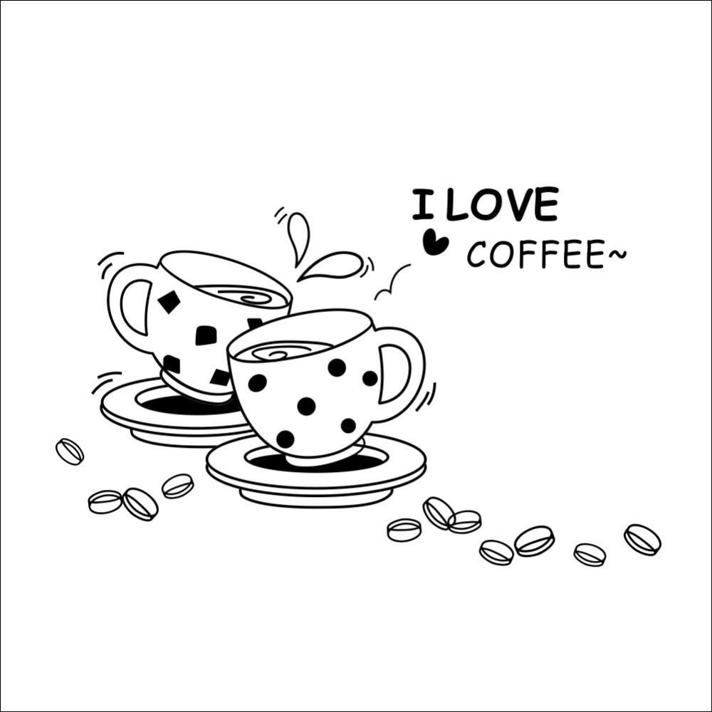 1000x1000 Black I Love Coffee Restaurant Storefront Kitchen Wall Sticker