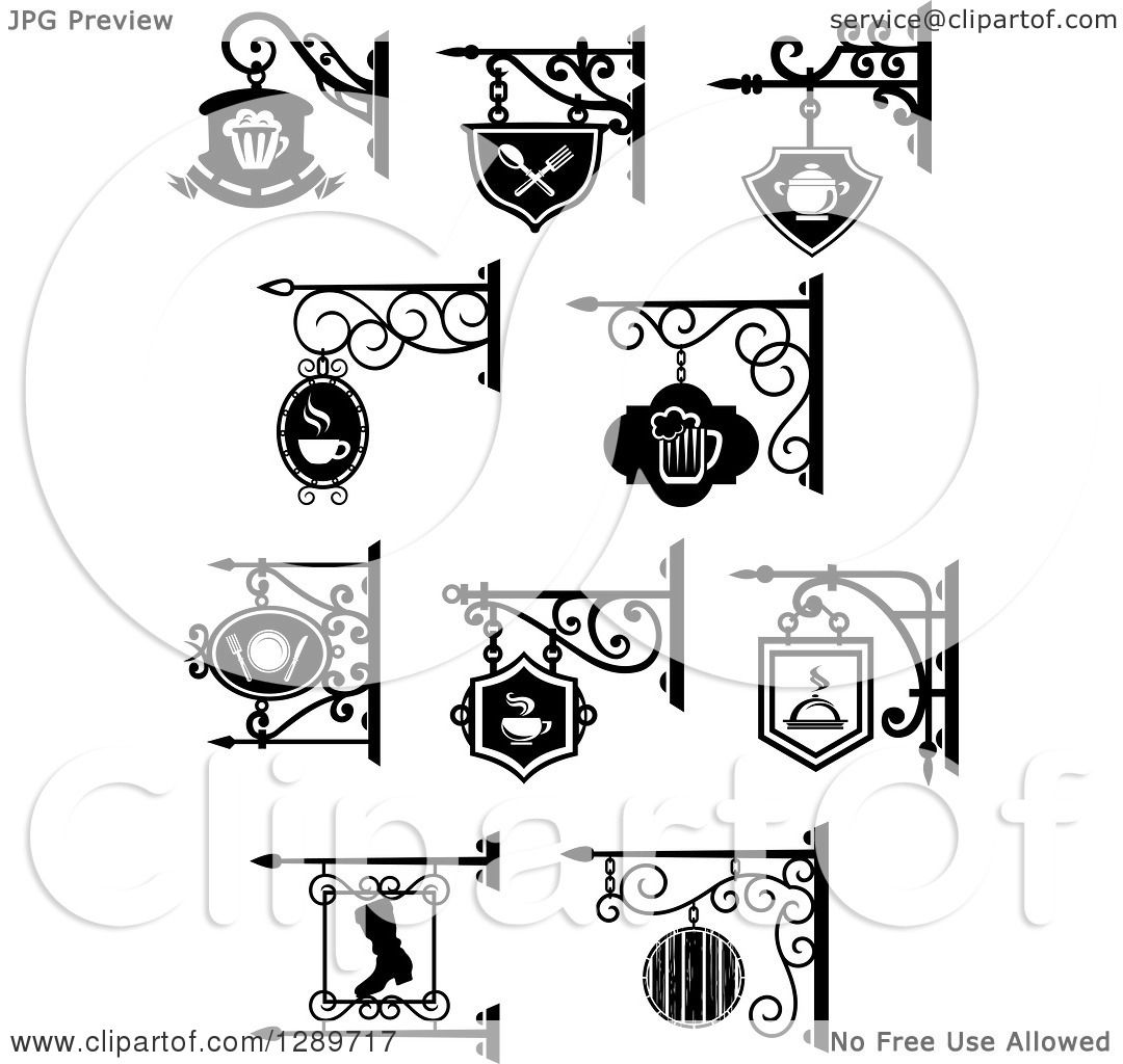 1080x1024 Clipart Of Black And White Storefront Shingle Signs