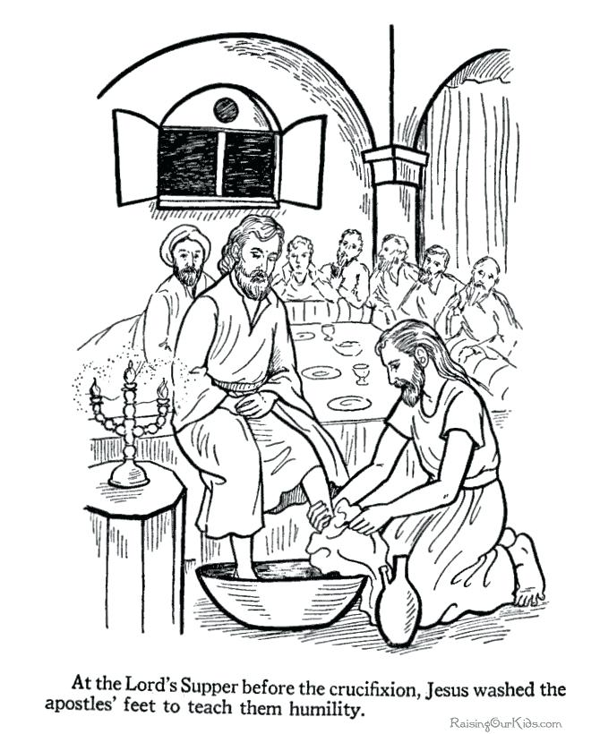 670x820 Jesus Washes The Disciples Feet Coloring Page Washing The Feet