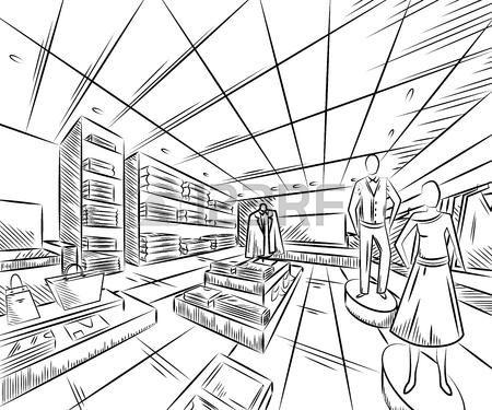 450x375 Shopping Center With Fashion Stores. Interior Design In Sketch
