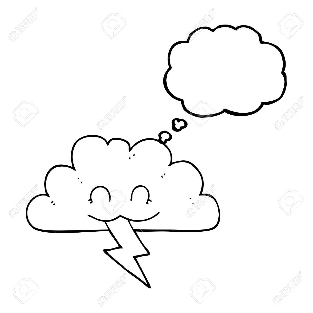 1300x1300 Freehand Drawn Thought Bubble Cartoon Storm Cloud Royalty Free