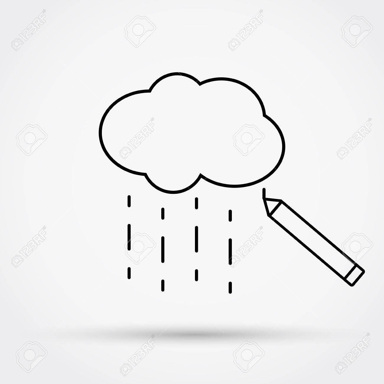 1300x1300 Pencil Drawing Cloud With Rain. Outline Simple Flat Icon. Vector