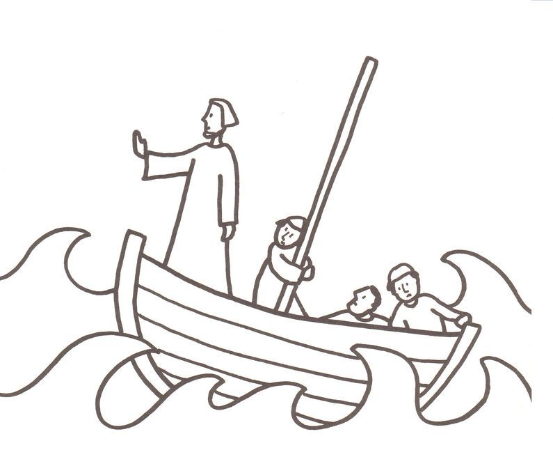 795x656 Jesus Calms The Storm Coloring Page Bible Study