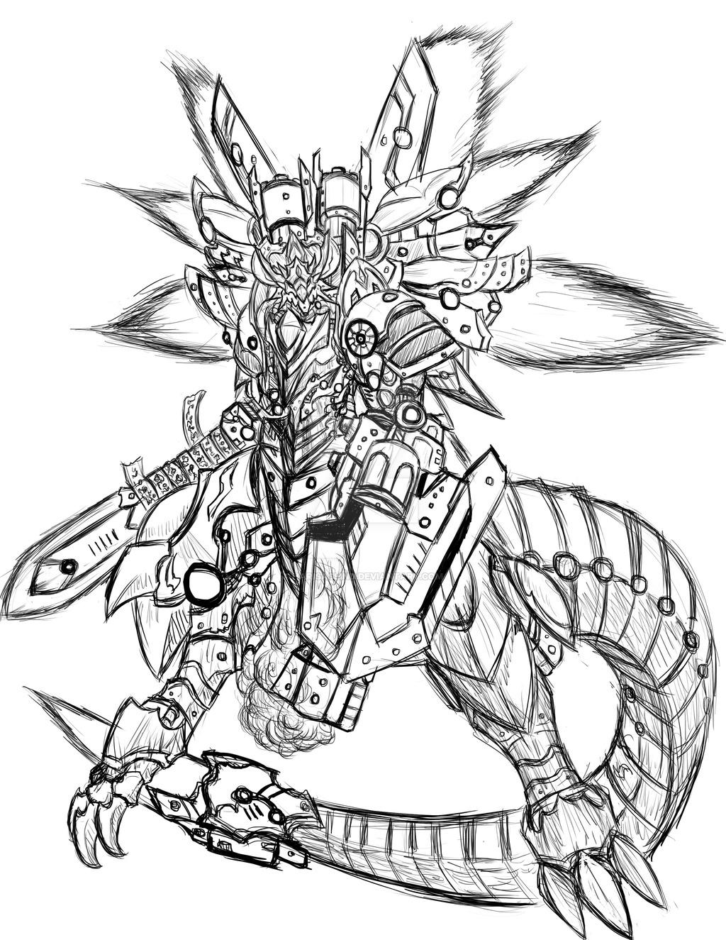 1024x1325 Blazing Storm Dragon Sketch By Harisaslind