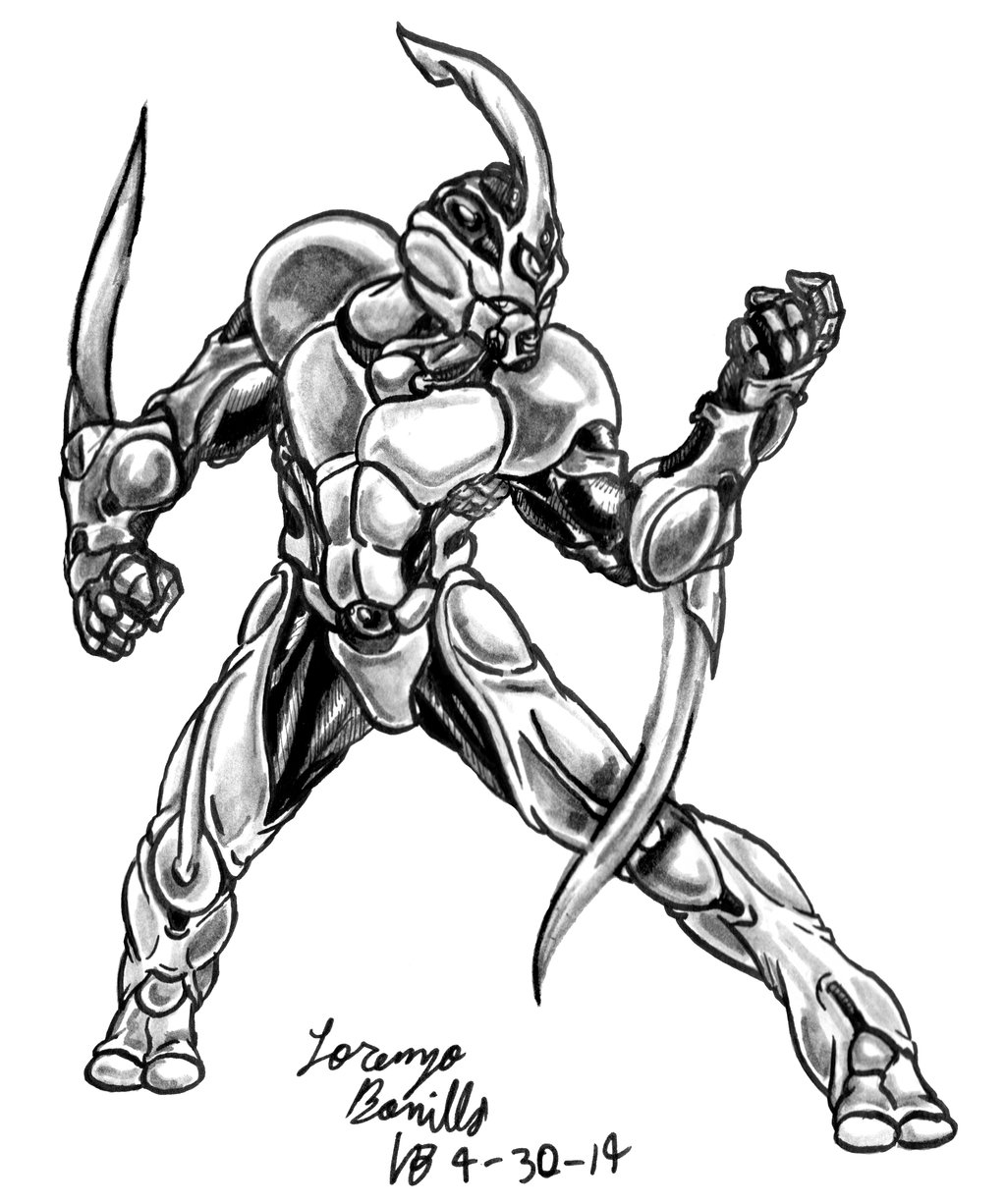 1024x1226 The Guyver Drawing By Emeraldfury