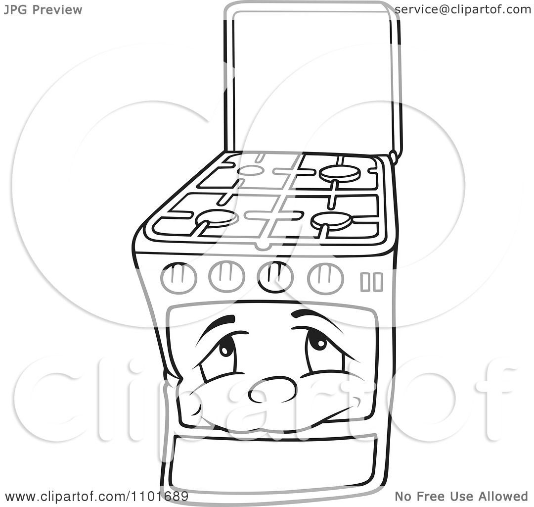 1080x1024 Clipart Outlined Gas Oven Range Stove Character