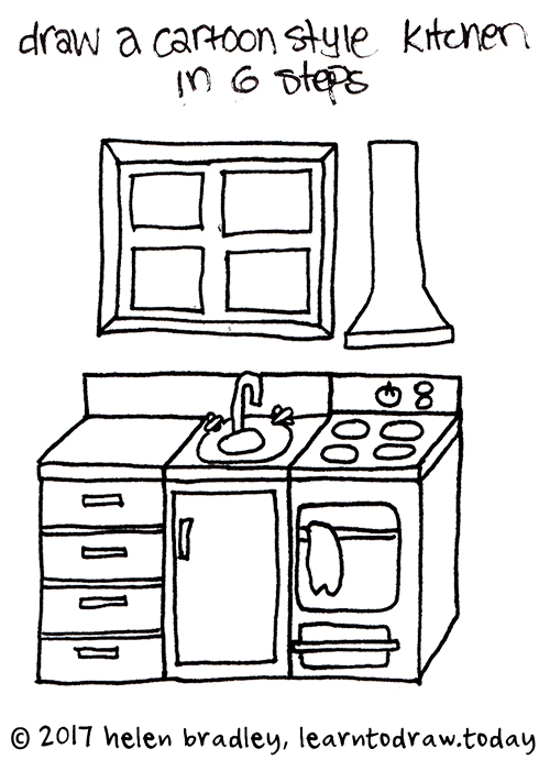 500x701 How To Draw A Cartoon Kitchen In 6 Steps Learn To Draw