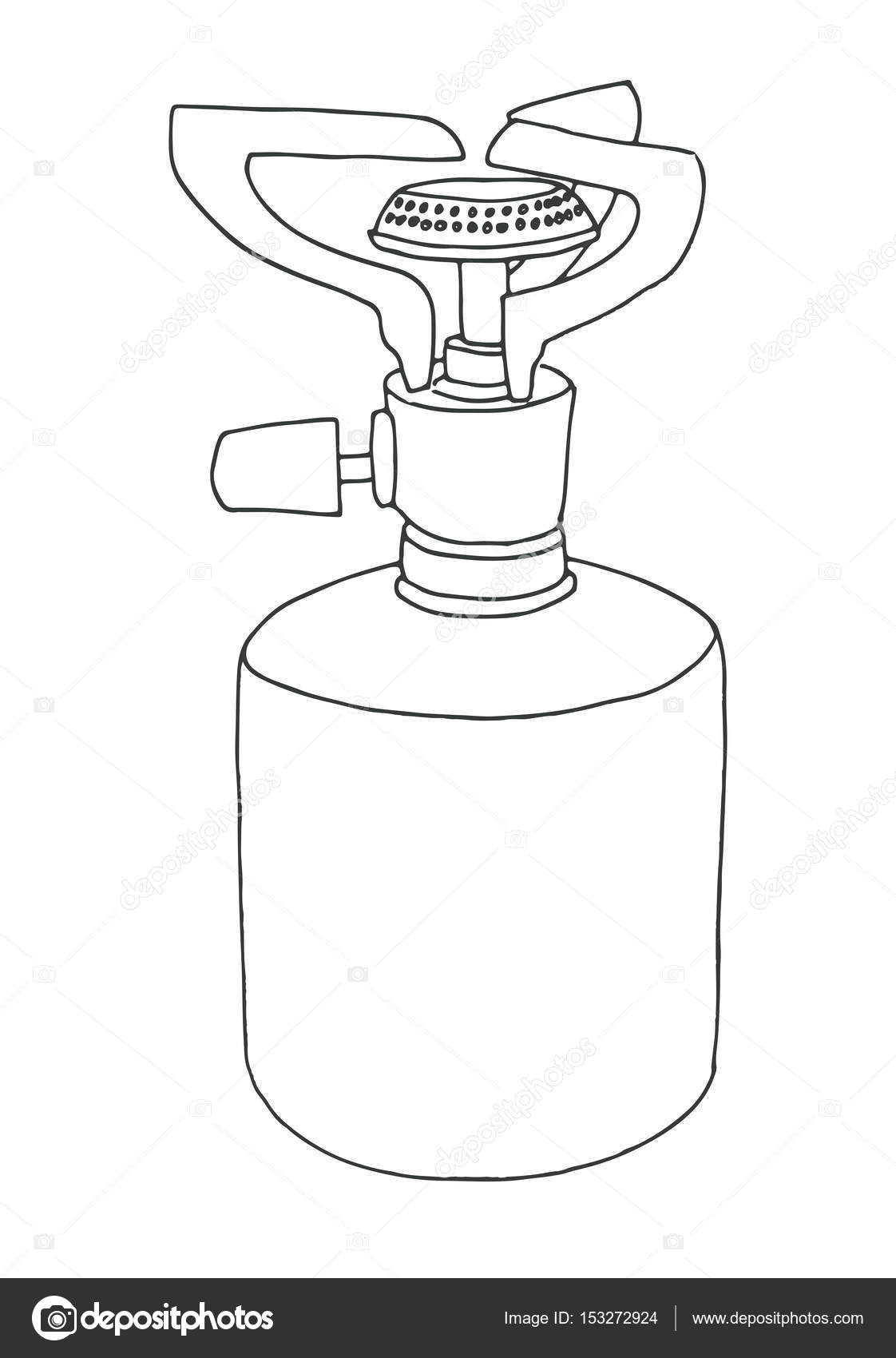 1122x1700 Sketch Of A Camping Stove. Vector Illustration. Burner Isolated