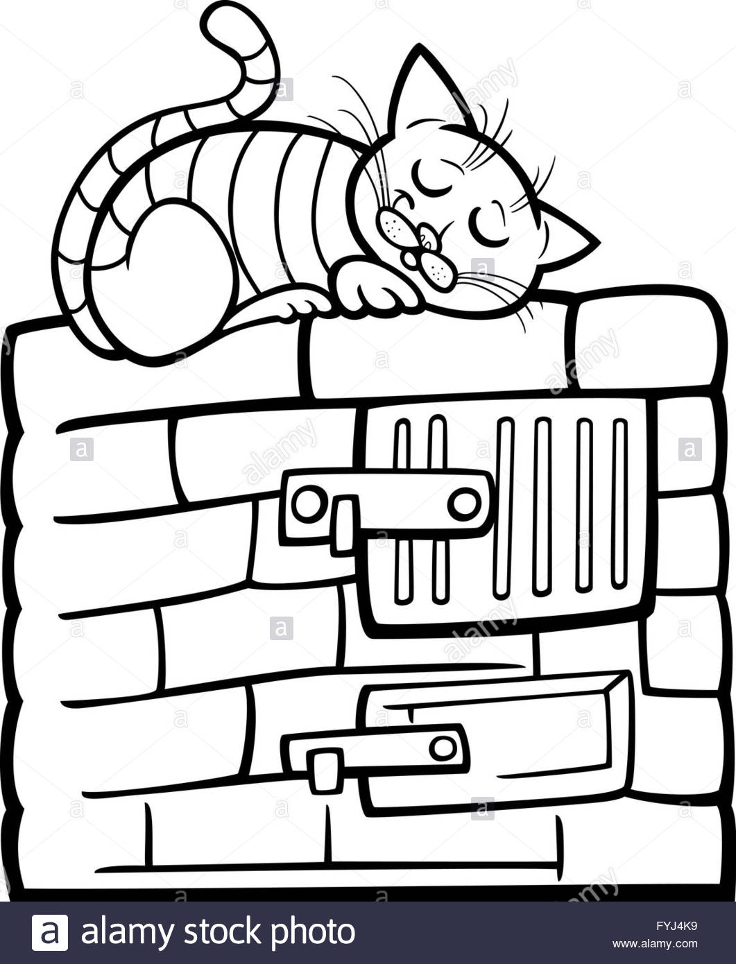 1061x1390 Cat On Stove Cartoon Coloring Page Stock Photo, Royalty Free Image