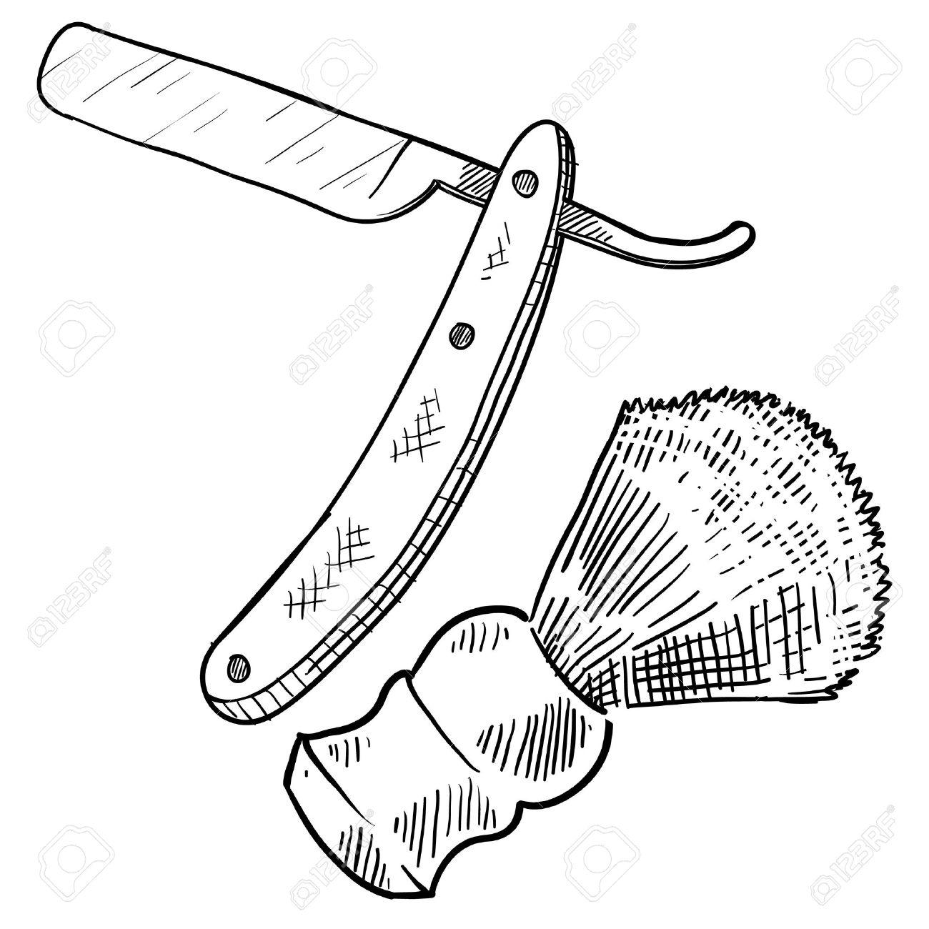 1300x1300 Doodle Style Retro Straight Razor And Shaving Brush Illustration
