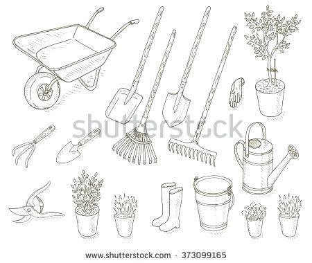 450x380 Drawing Of Garden Tools Big Set Of Hand Drawn Pen Sketch Garden