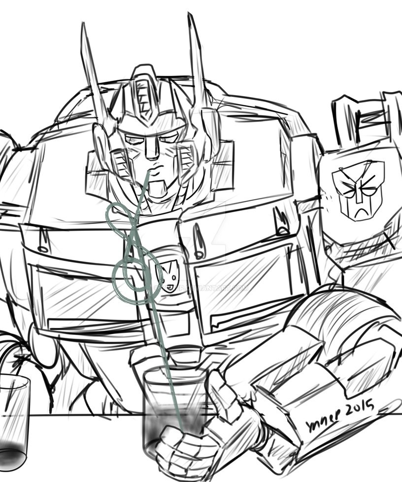 816x979 Crazy Straw Optimus Prime Commission By Ynnep