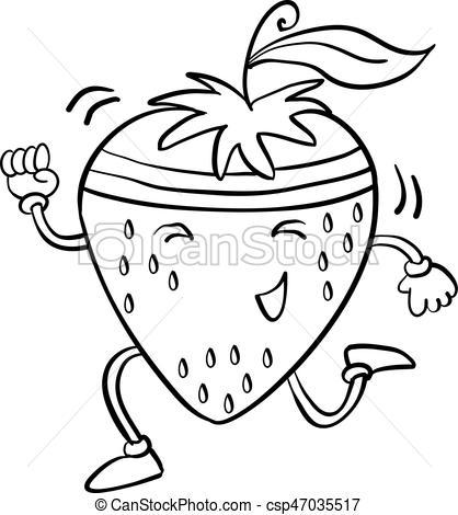 418x470 Running Strawberry Hand Draw Vector Art Illustration Vector Clip