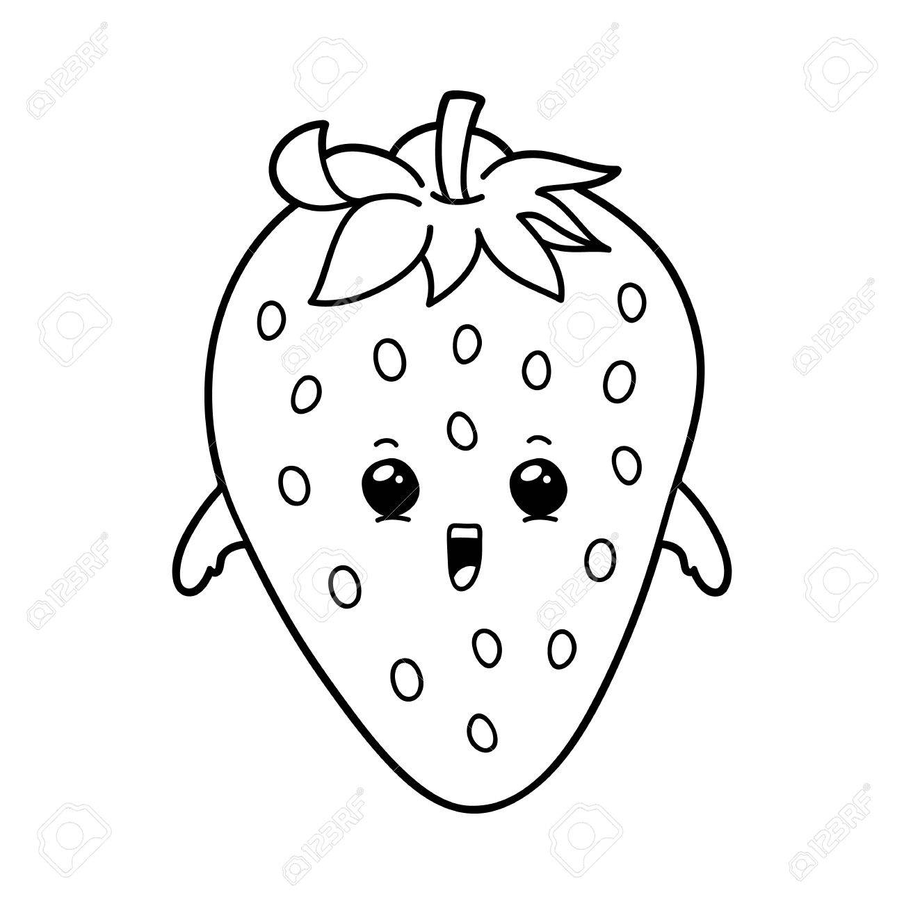 1300x1300 Vector Illustration Of Cute Cartoon Strawberry For Children