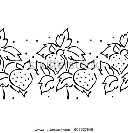 450x470 Drawn Strawberry Line Drawing