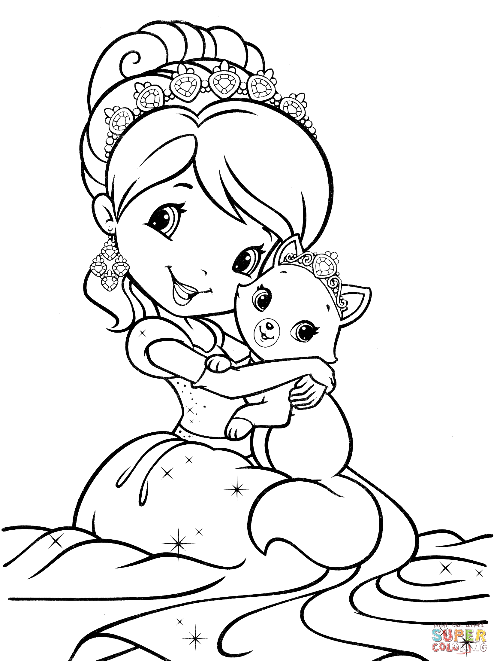 1646x2200 Strawberry Shortcake Mermaid Coloring Page Free Printable