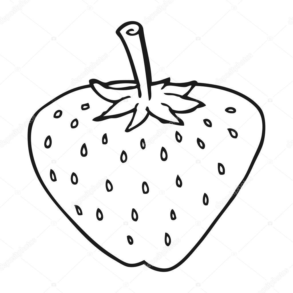 1024x1024 Black And White Cartoon Strawberry Stock Vector