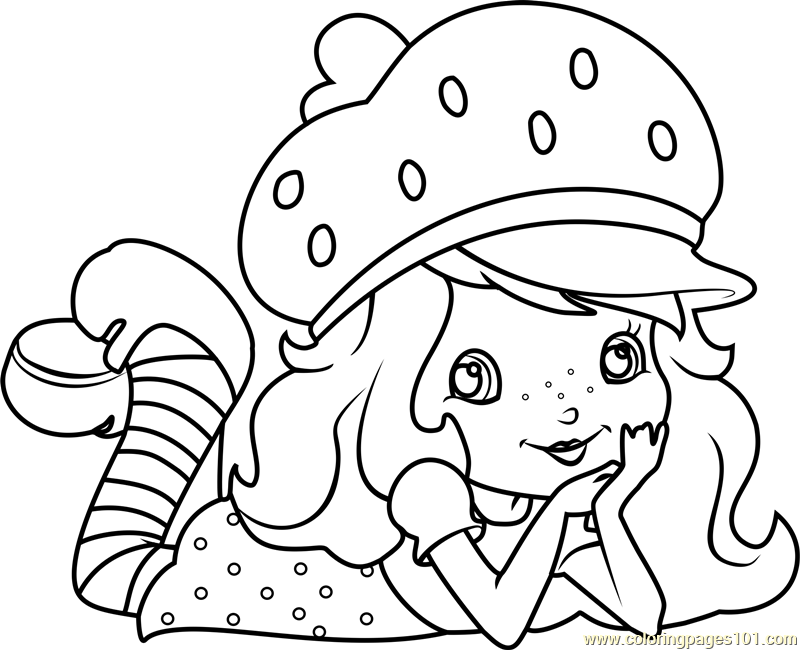 800x650 Cute Strawberry Shortcake Coloring Page