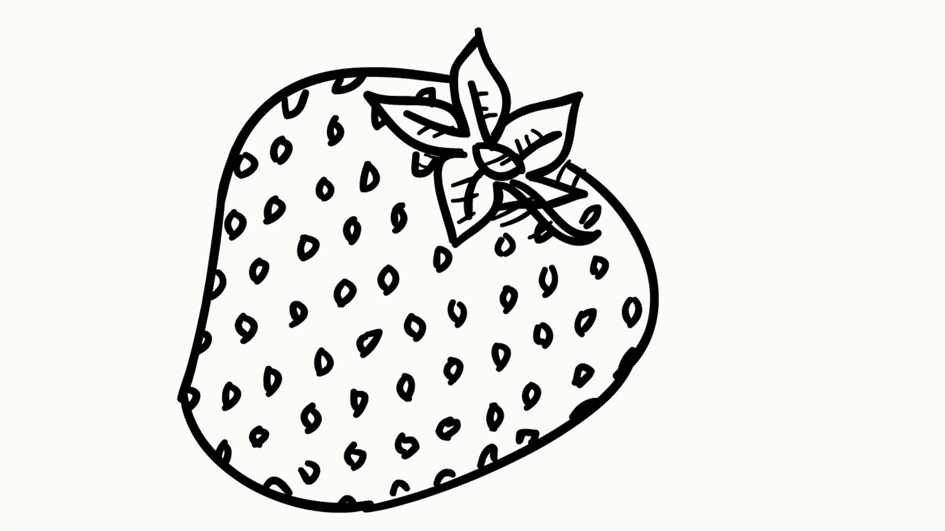 1920x1080 Strawberry Fruit Food Line Drawing Illustration Animation
