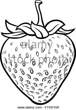 300x434 Black And White Cartoon Illustration Of Strawberry Fruit Food