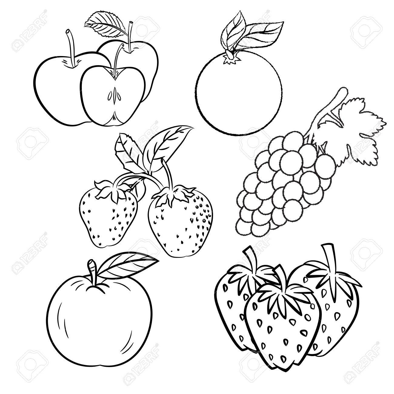 1300x1300 Hand Drawn Set Of Different Fruits With Apple, Strawberry, Orange