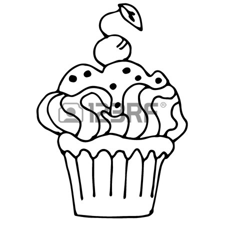 450x450 Cake With Lemon Or Orange, Cupcake Drawn In Outline Isolated