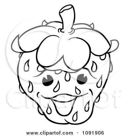 450x470 Clipart Outline Of A Happy Strawberry