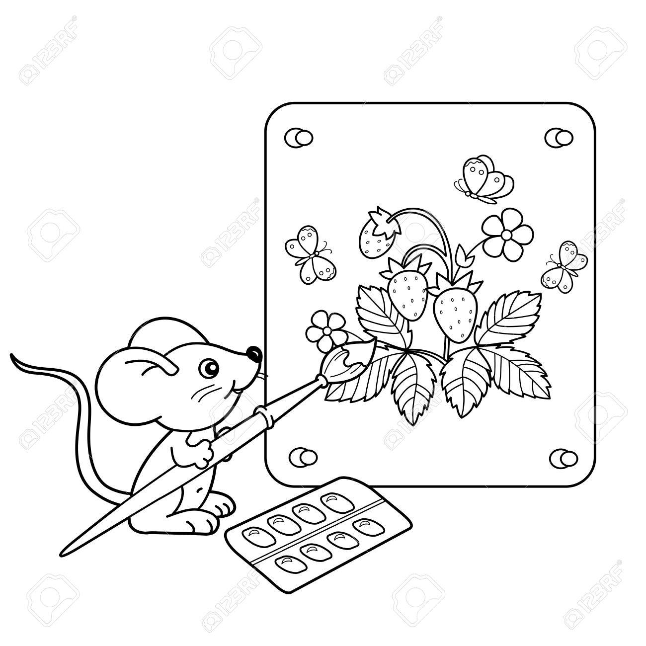 1300x1300 Coloring Page Outline Cartoon Little Mouse With Picture