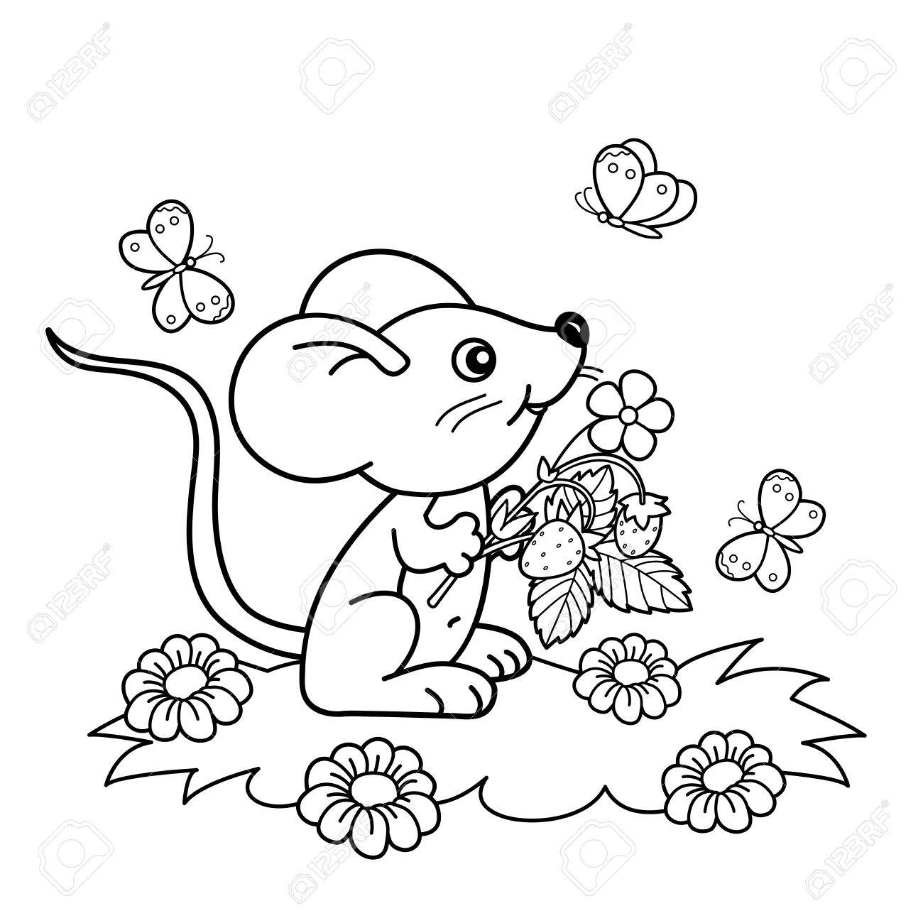 1300x1300 Coloring Page Outline Of Cartoon Little Mouse With Strawberries